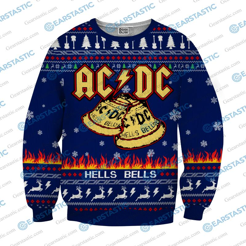 ACDC hells bells ugly christmas sweater - navy