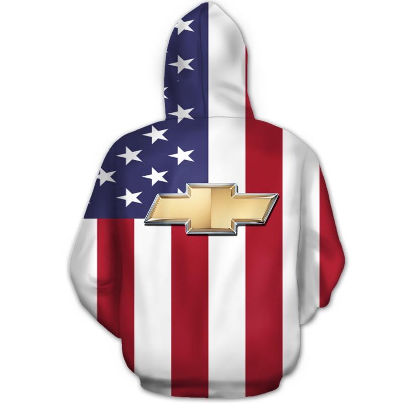 American flag chevrolet 3d hoodie - back
