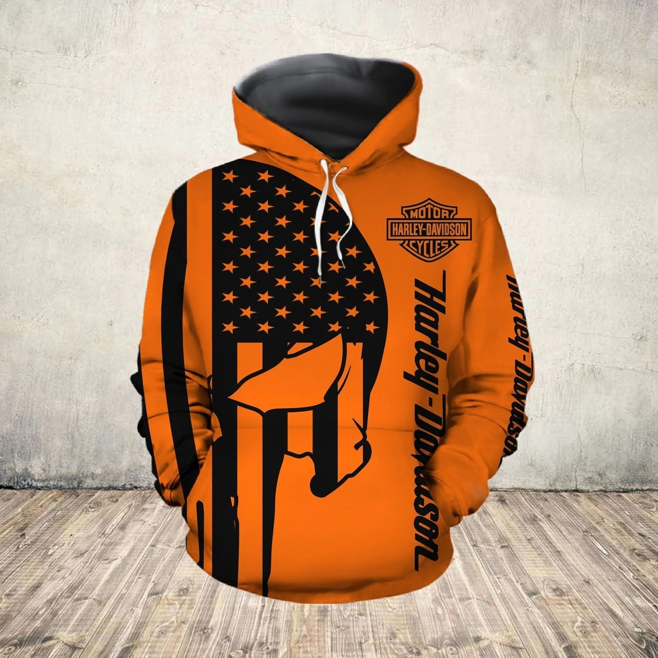 American flag harley-davidson motorcycle skull all over print hoodie - size xl