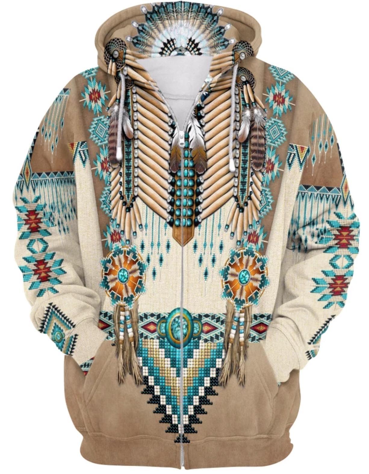 Apache warrior native american all over print zip hoodie
