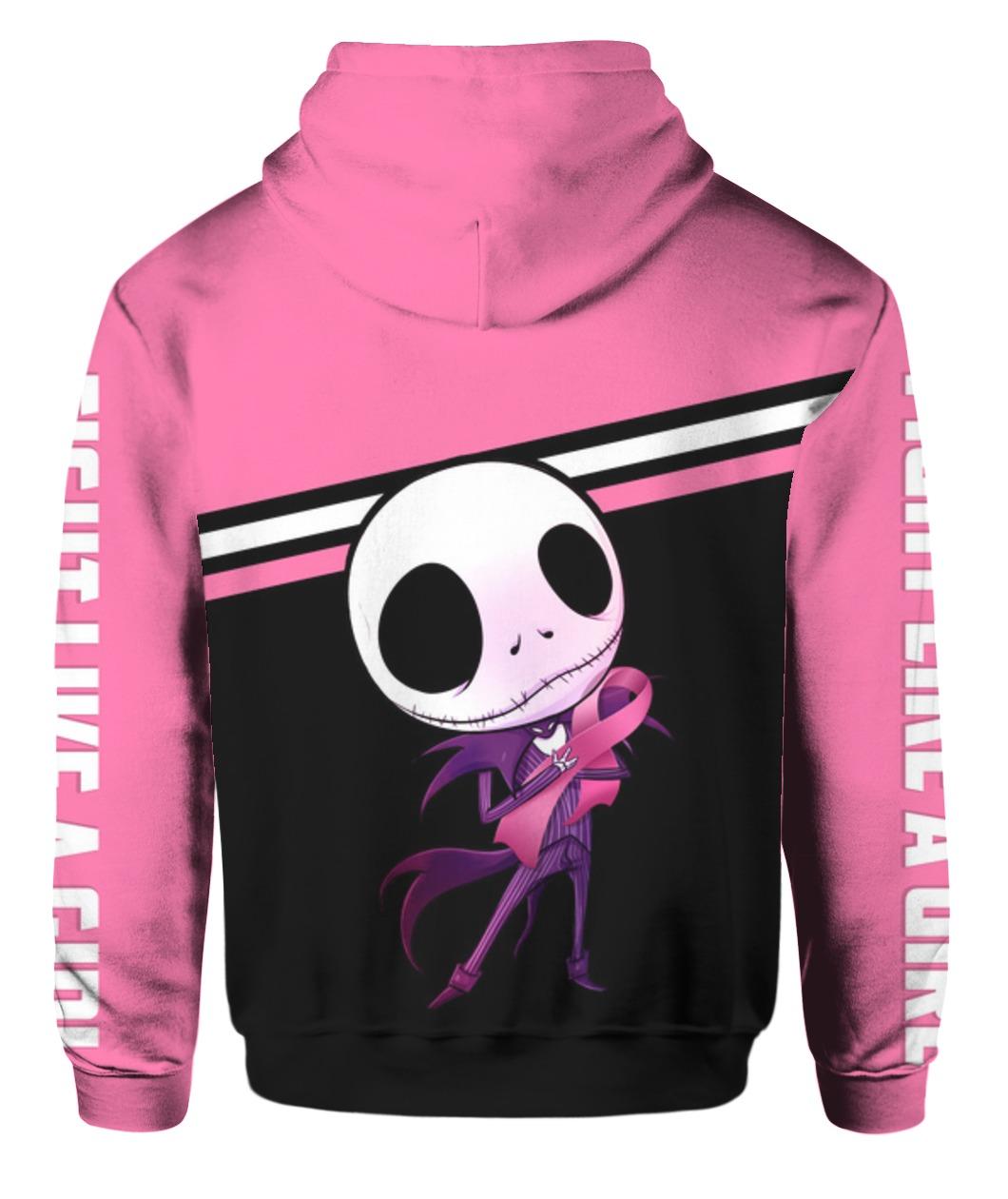 Baby jack skellington hugs ribbon breast cancer awareness all over printed hoodie - back