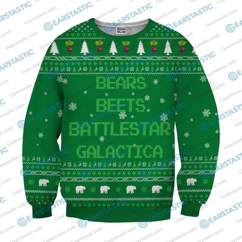 Bears beets battlestar galactica ugly sweater - green