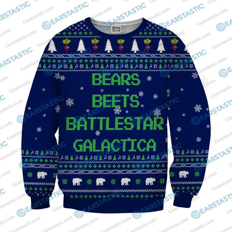 Bears beets battlestar galactica ugly sweater - navy