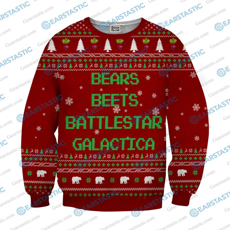 Bears beets battlestar galactica ugly sweater - red