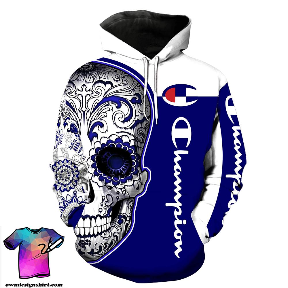 Champion sugal skull full over print hoodie