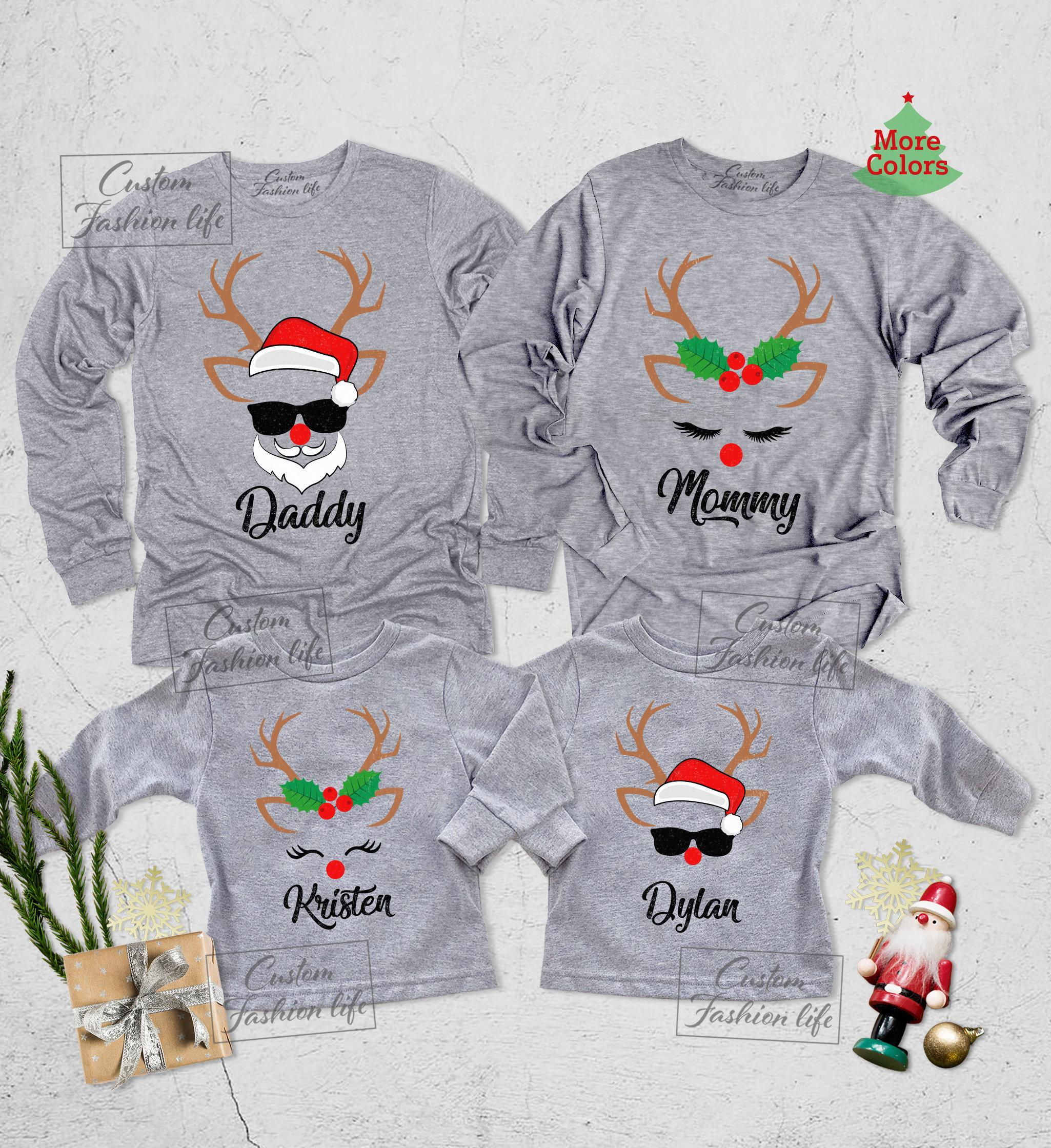 Christmas reindeer and santa long sleeve shirt