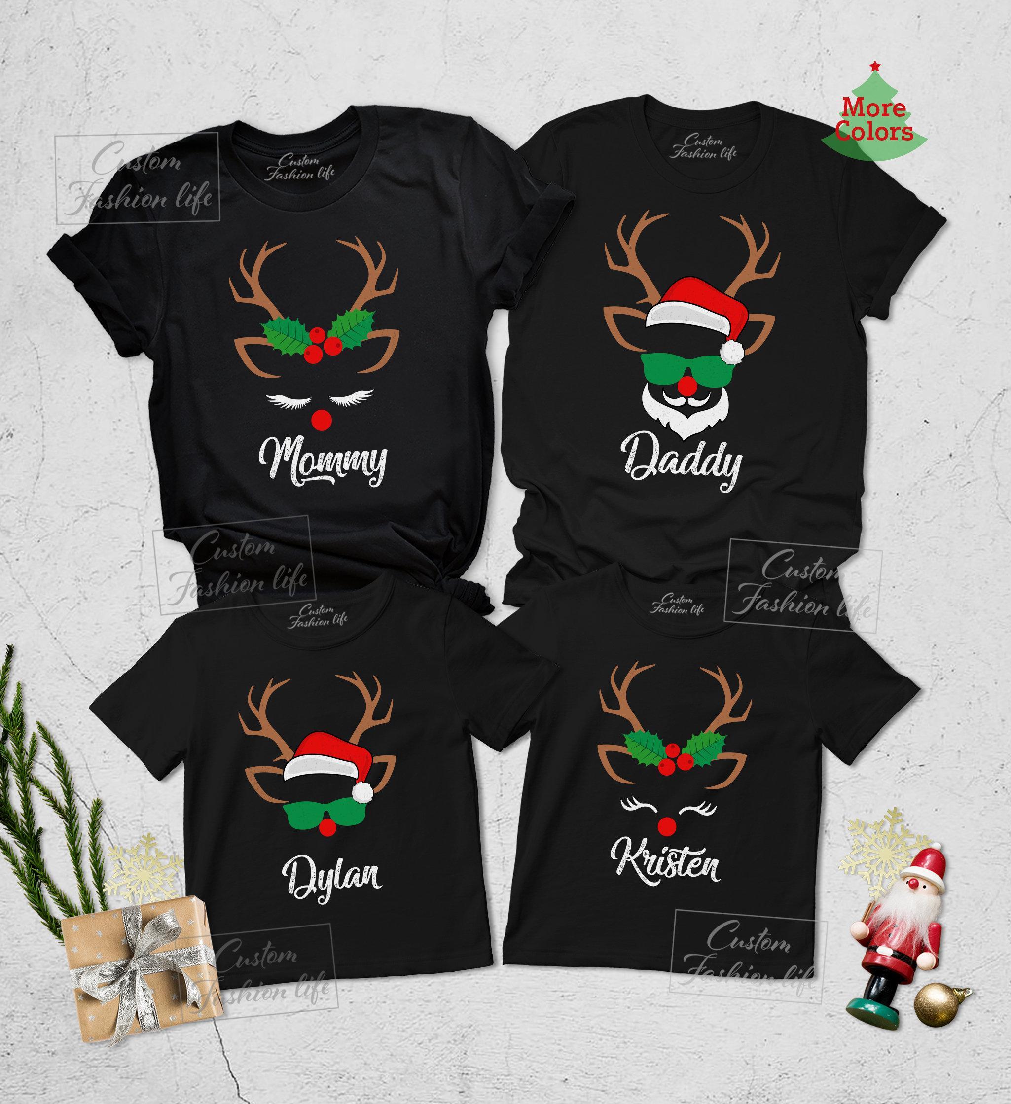 Christmas reindeer and santa womens shirt