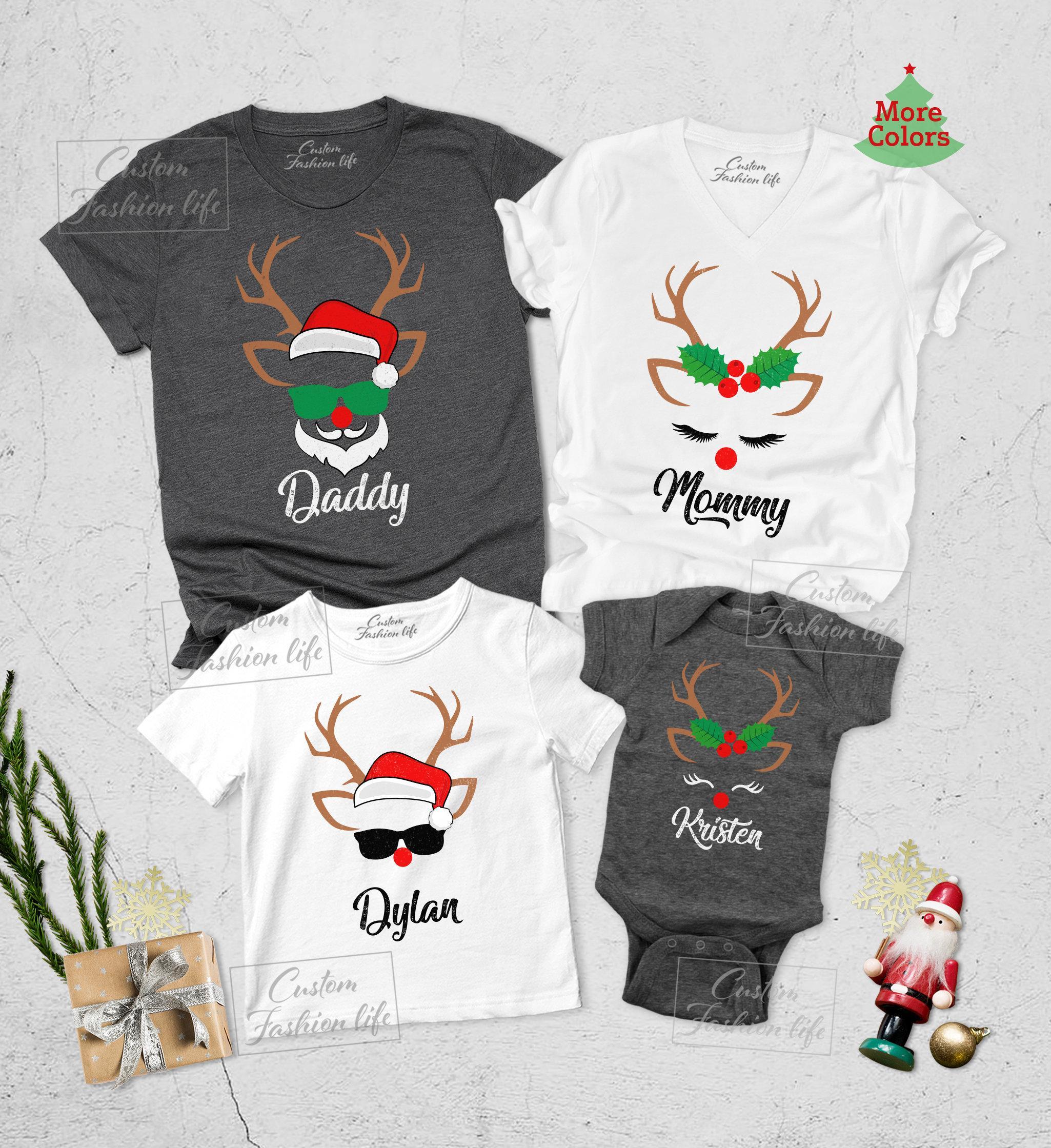 Christmas reindeer and santa youth shirt