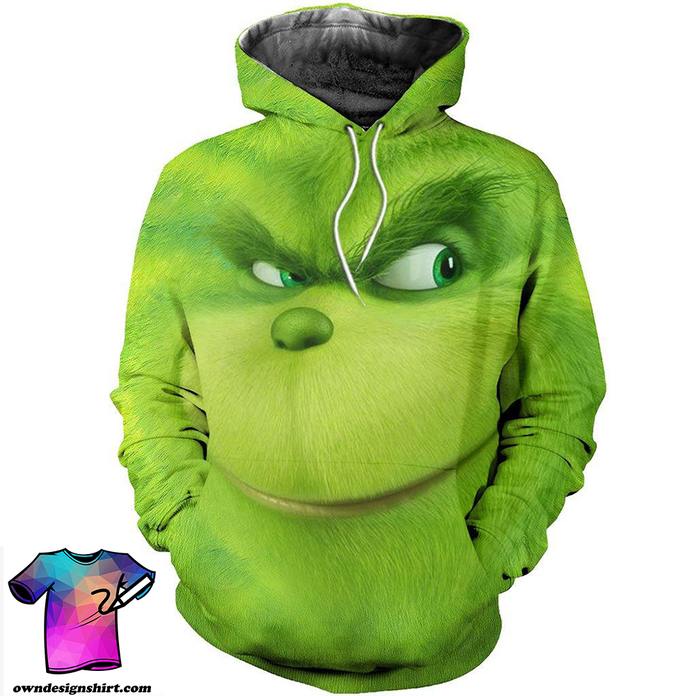 Christmas smiling grinch face 3d all over printed shirt