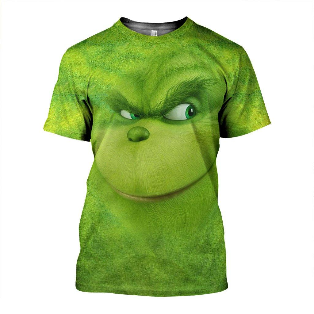 Christmas smiling grinch face 3d all over printed tshirt