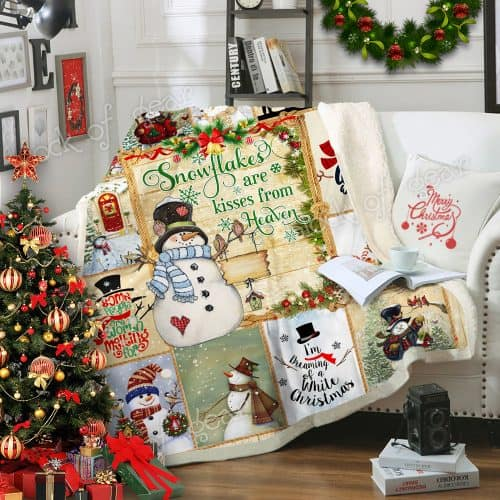 Christmas snowflakes are kisses from heaven snowman sofa blanket 1