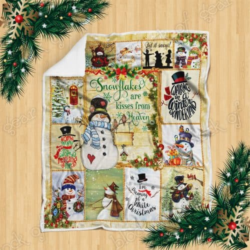 Christmas snowflakes are kisses from heaven snowman sofa blanket 2