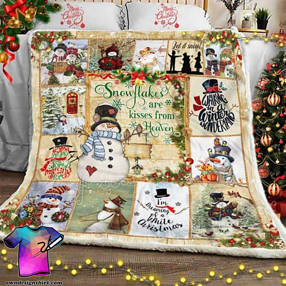 Christmas snowflakes are kisses from heaven snowman sofa blanket