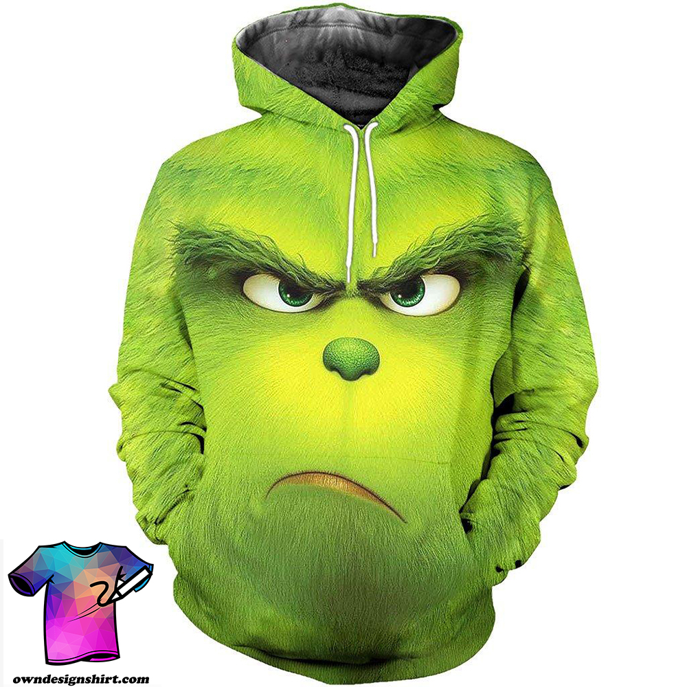Christmas the grinch face 3d all over printed shirt