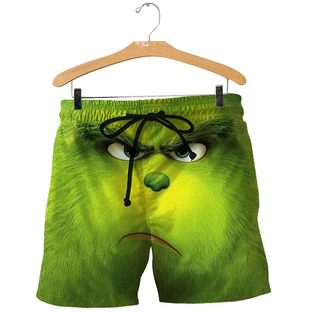 Christmas the grinch face 3d all over printed shorts
