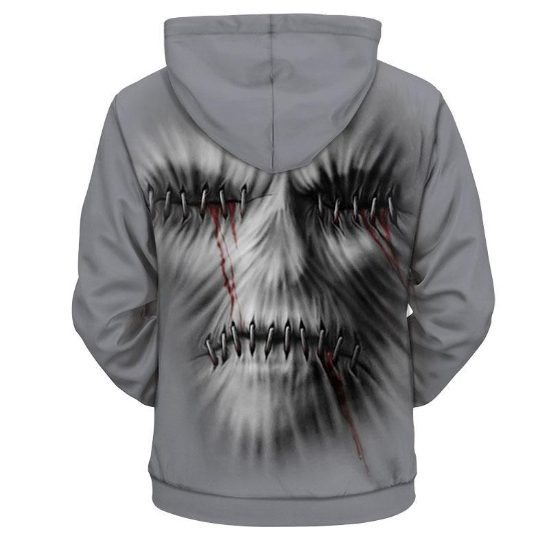 Creepy skull 3d hoodie - size L