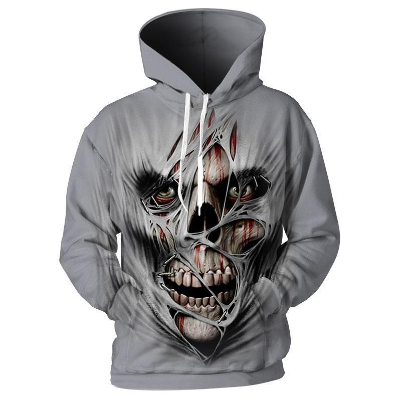 Creepy skull 3d hoodie - size S
