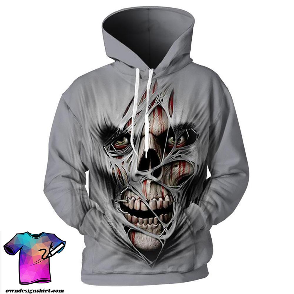 Creepy skull 3d hoodie