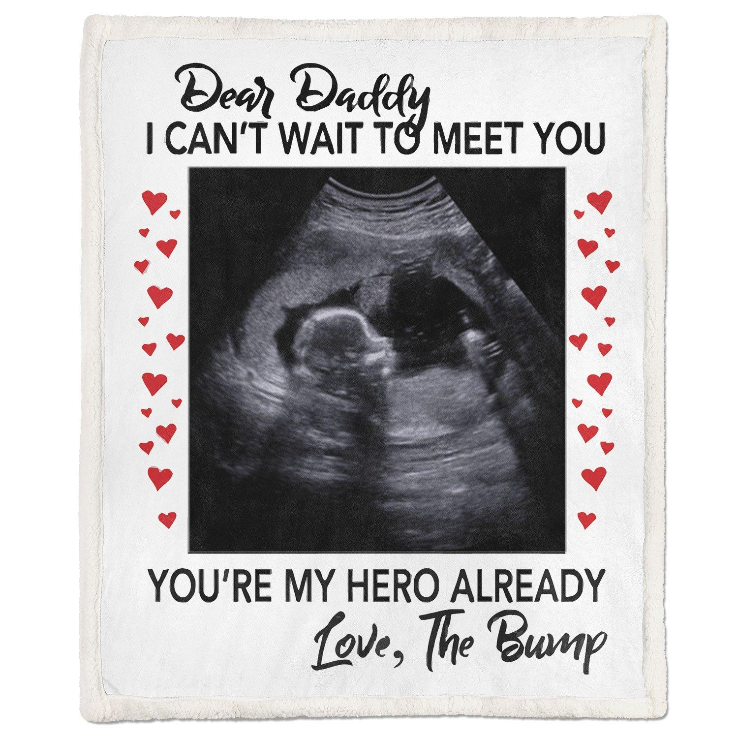 Dear daddy I can't wait to meet you pregnant fleece blanket - large