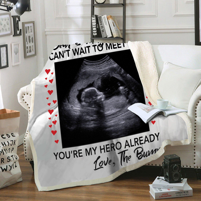 Dear daddy I can't wait to meet you pregnant fleece blanket - original