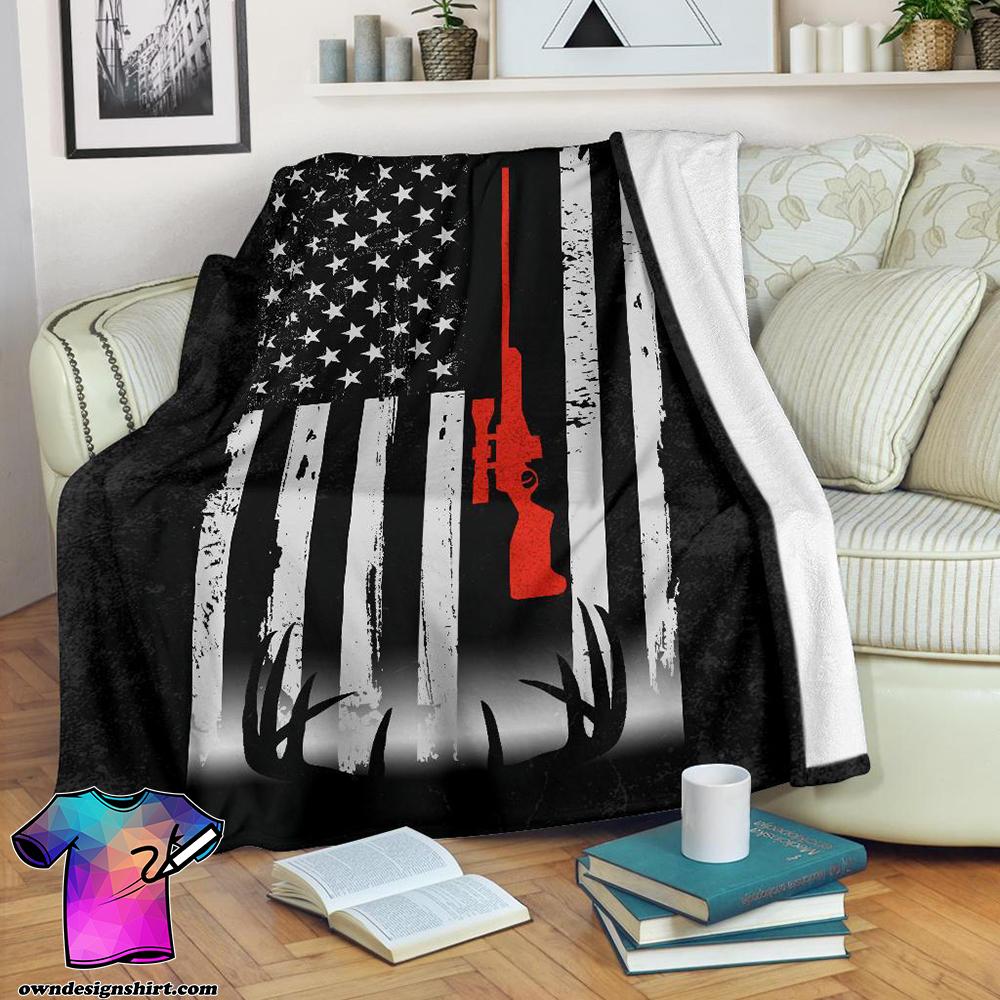 Deer hunting american flag blanket