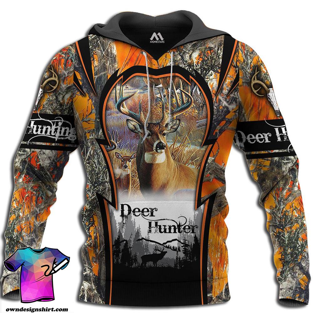 Deer hunting camo 3d all over printed hoodie