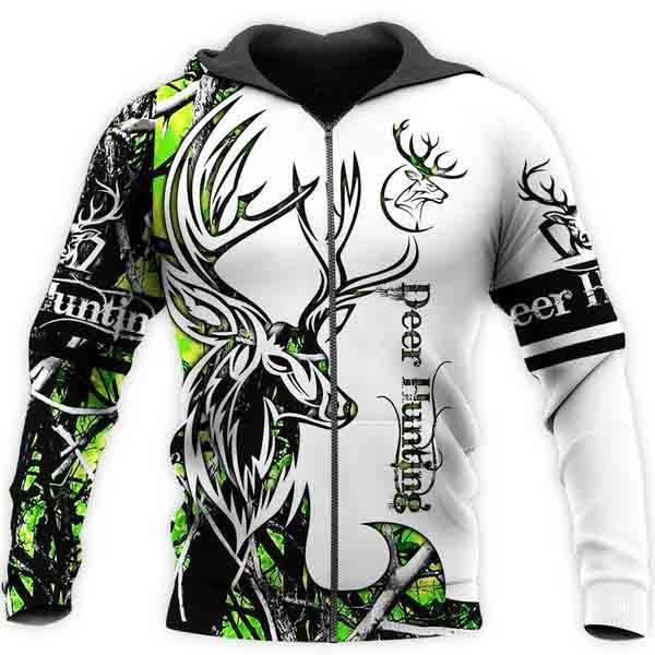 Deer hunting neon 3d all over printed zip hoodie