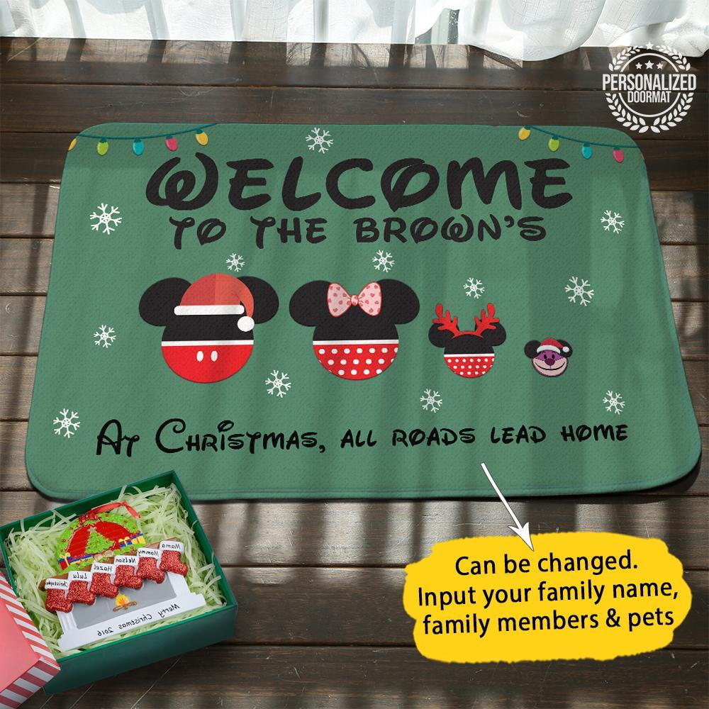 Disney mouse christmas personalized doormat - green