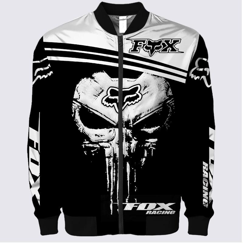 Fox racing skull 3d bomber jacket