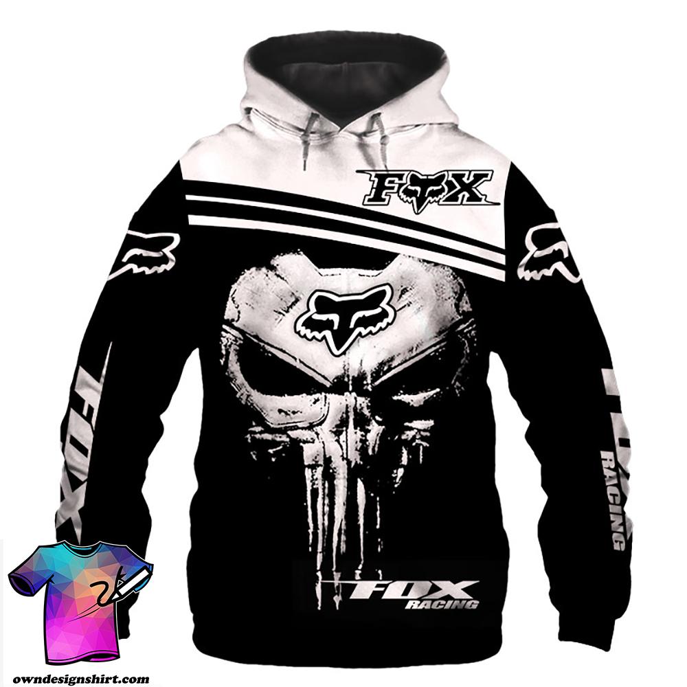 Fox racing skull 3d hoodie