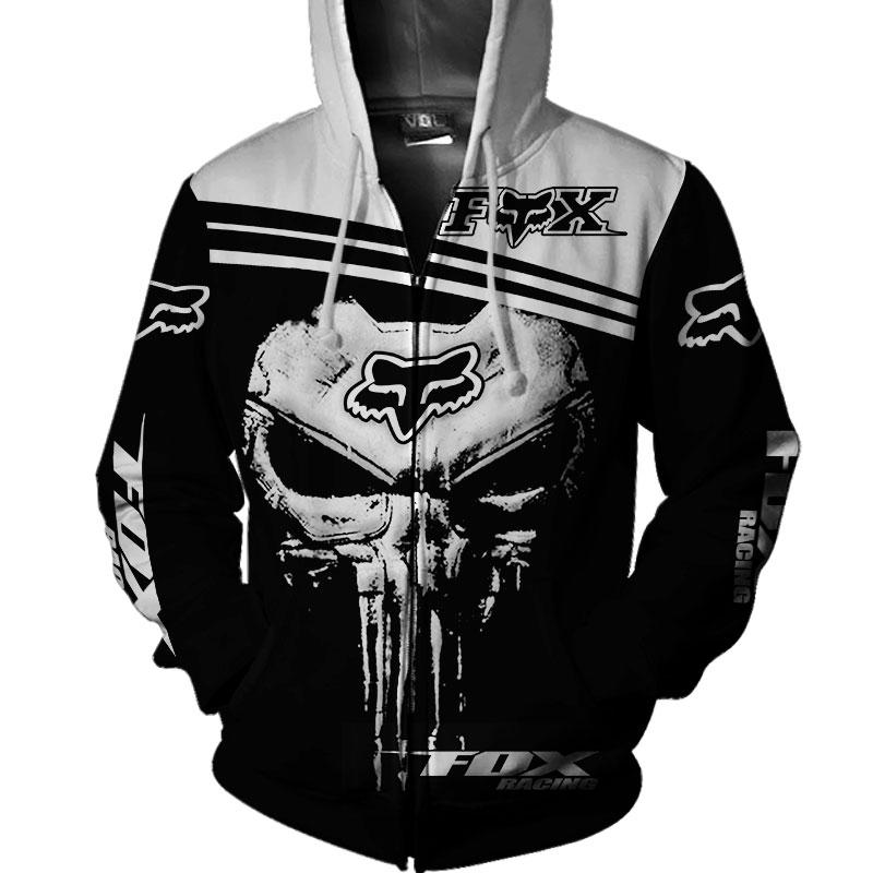 Fox racing skull 3d zip hoodie