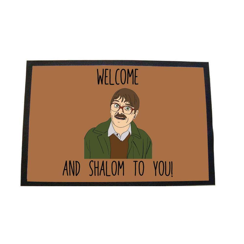 Friday night dinner welome and shalom to you door mat - brown