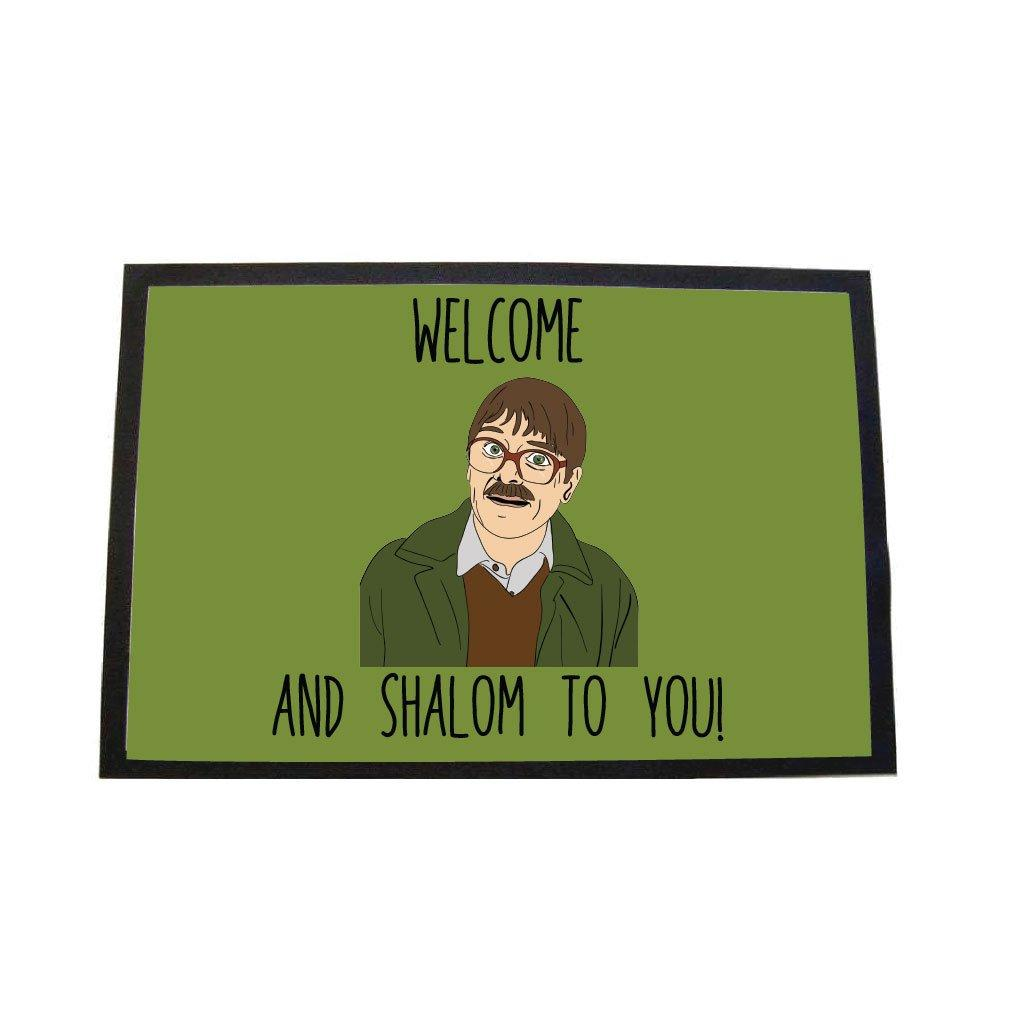 Friday night dinner welome and shalom to you door mat - green