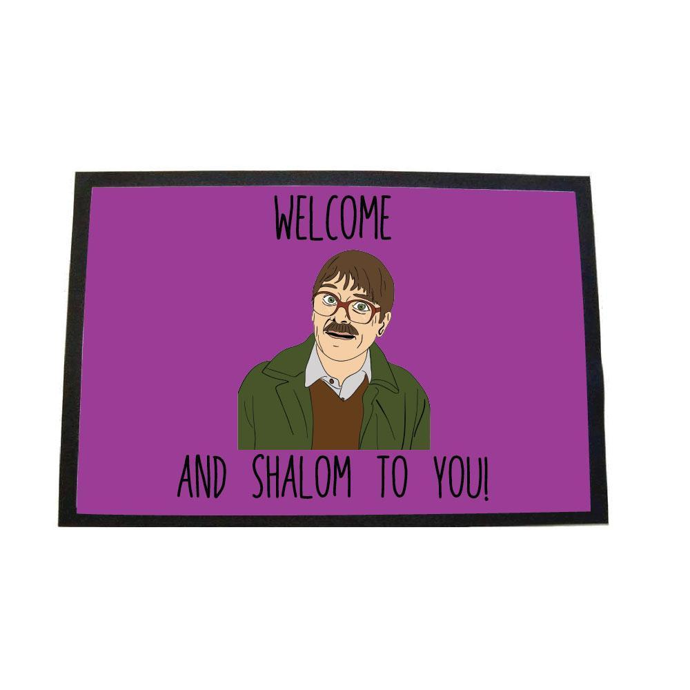 Friday night dinner welome and shalom to you door mat - pink