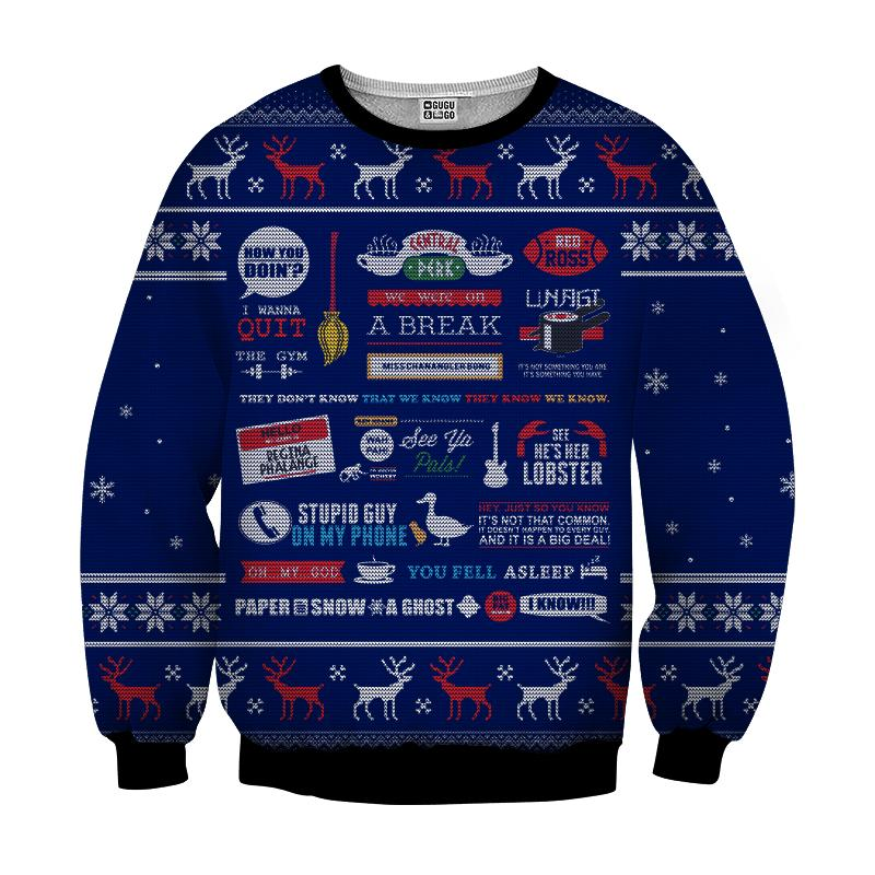 Friends tv show full quotes 3d ugly sweater - navy