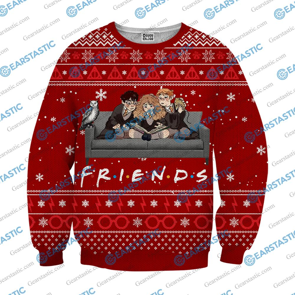 Friends tv show harry potter ugly christmas sweater - red