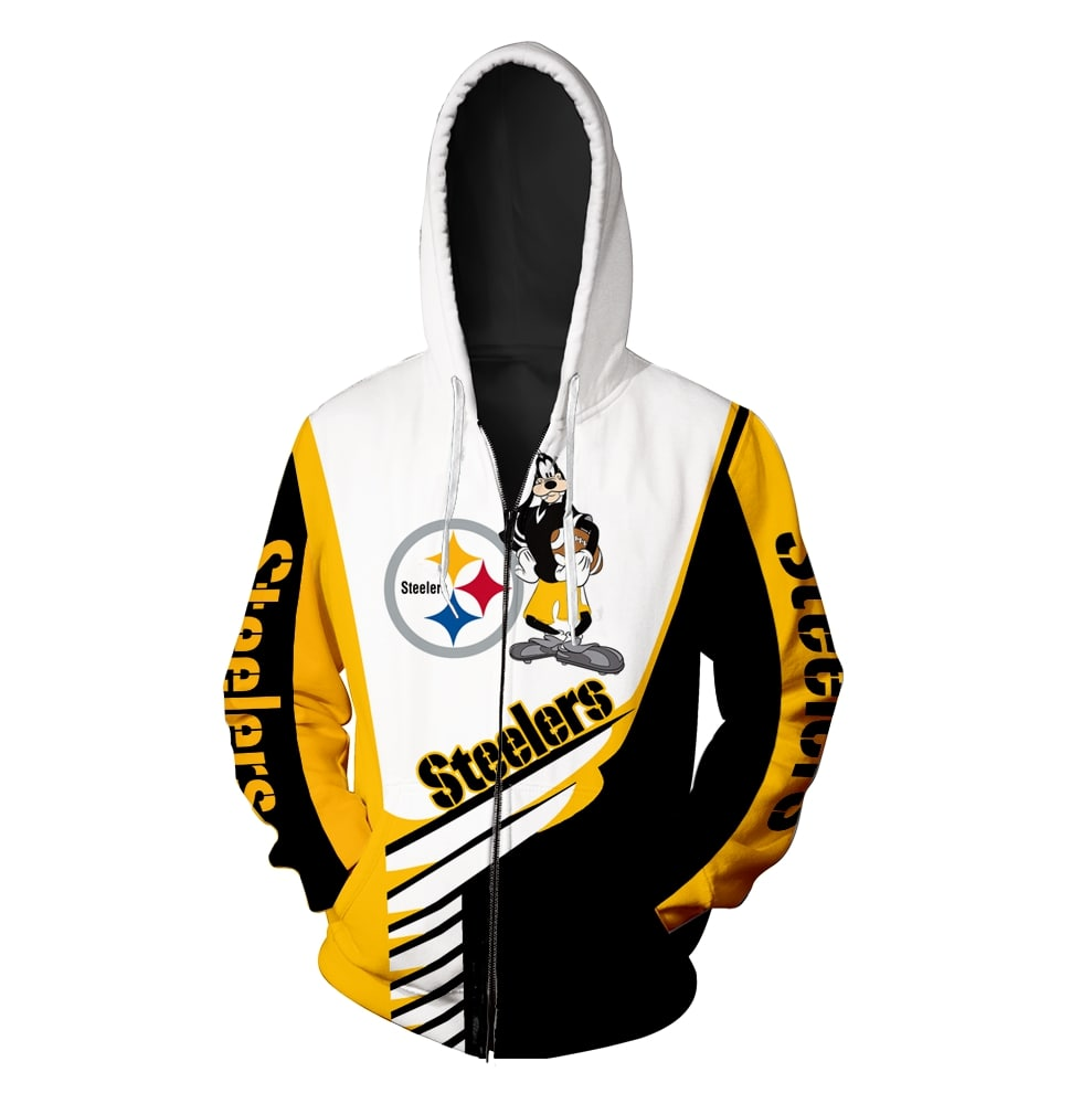 Goofy pittsburgh steelers all over print zip hoodie