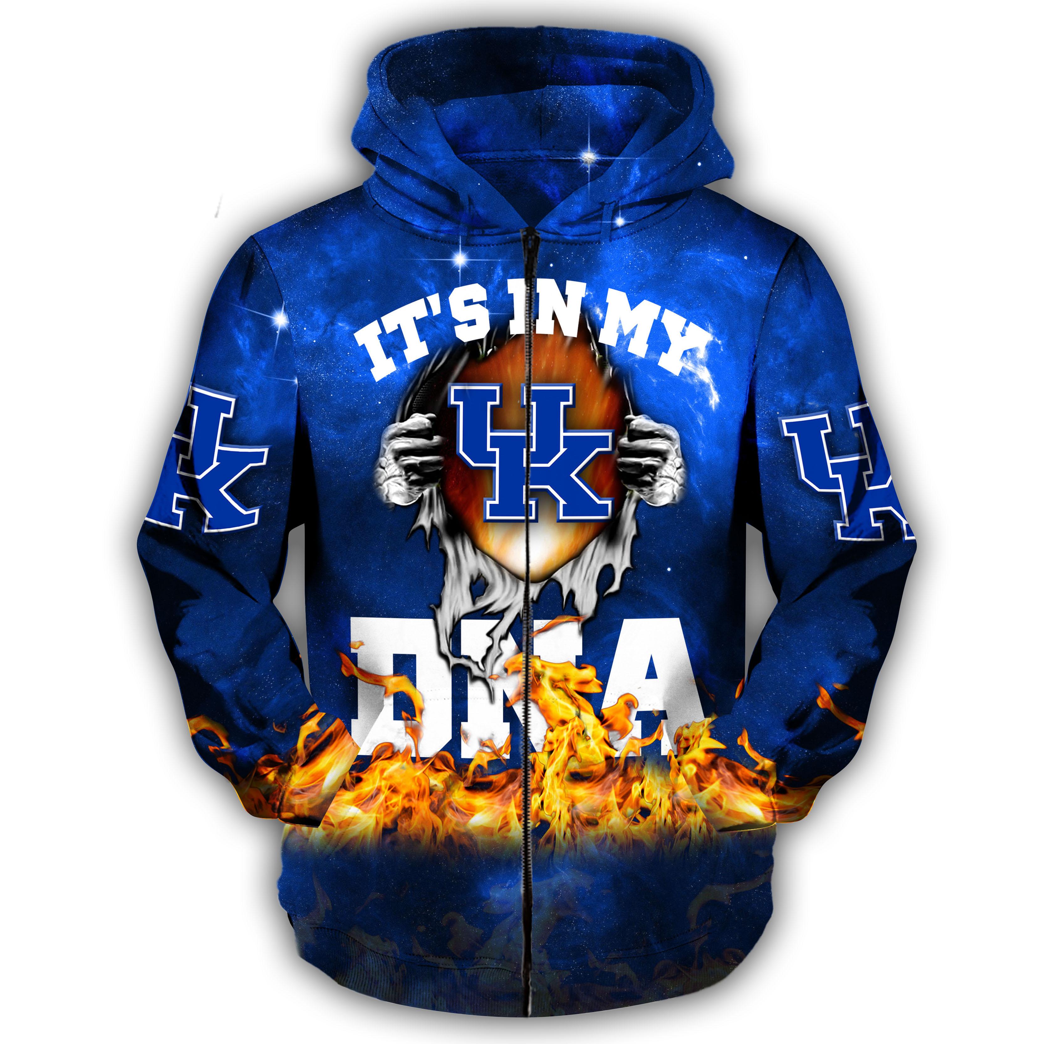 Groot hug kentucky wildcats it's in my dna all over print zip hoodie