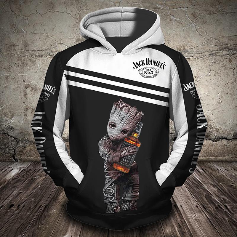Groot hugging jack daniel's 3d hoodie - front