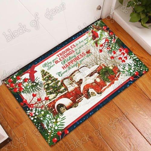 Happiness come through your door red truck christmas doormat 3