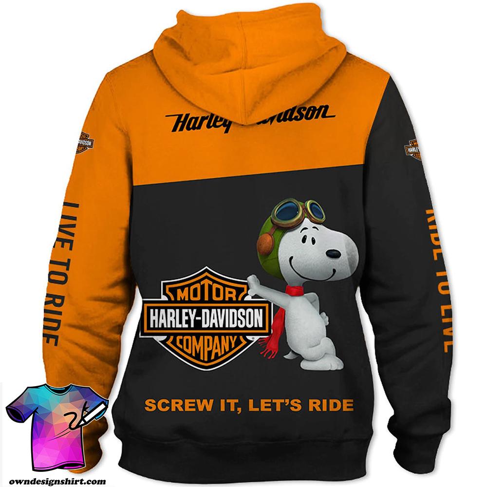 Harley-davidson motorcycle snoopy screw it let's ride all over print hoodie