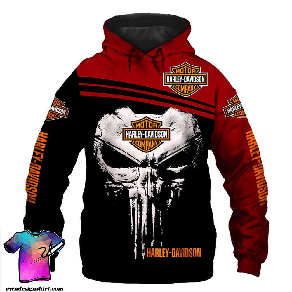 Harley-davidson skull 3d hoodie