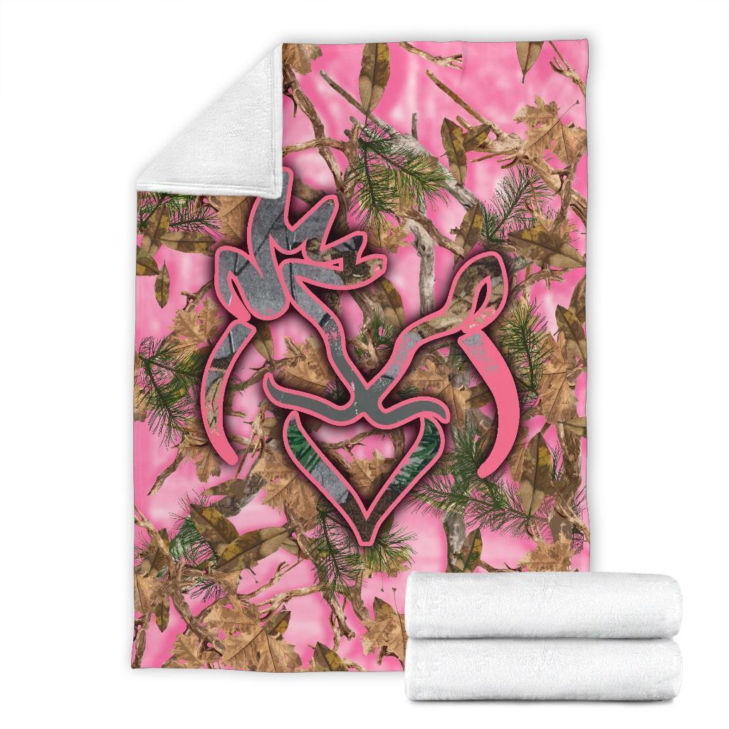 Her buck his doe pink camo blanket - xlarge