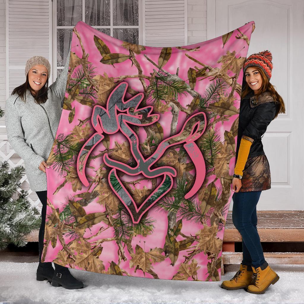 Her buck his doe pink camo blanket - youth