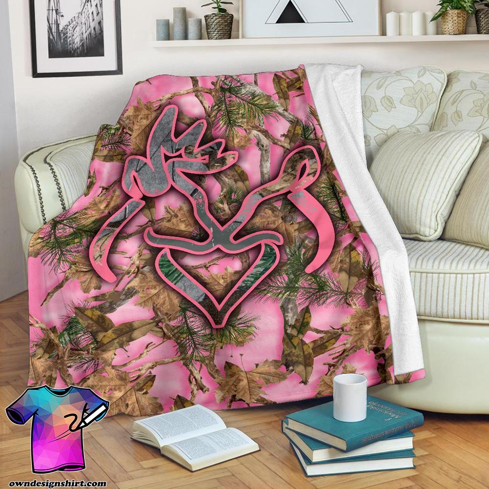 Her buck his doe pink camo blanket