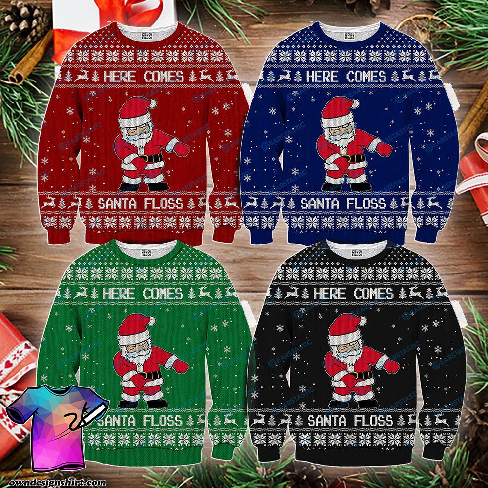 Here comes santa floss ugly christmas sweater