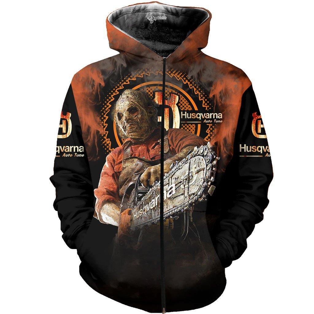 Husqvarna halloween 3d all over printed zip hoodie