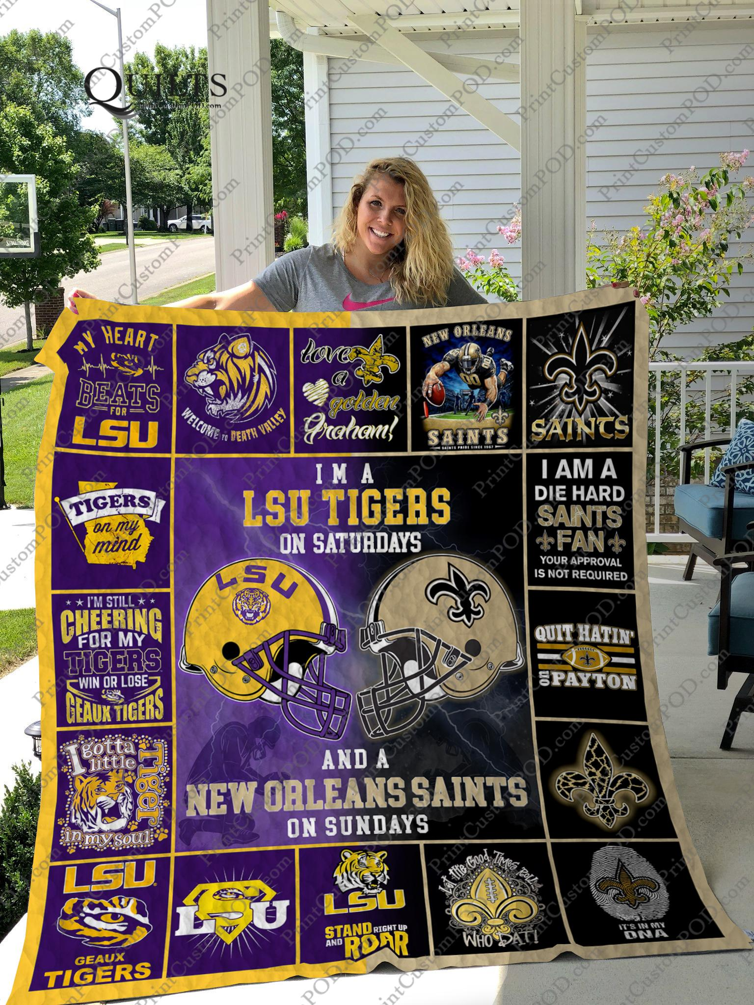 I'm a lsu tigers on saturdays and a new orleans saints on sundays blanket - 1