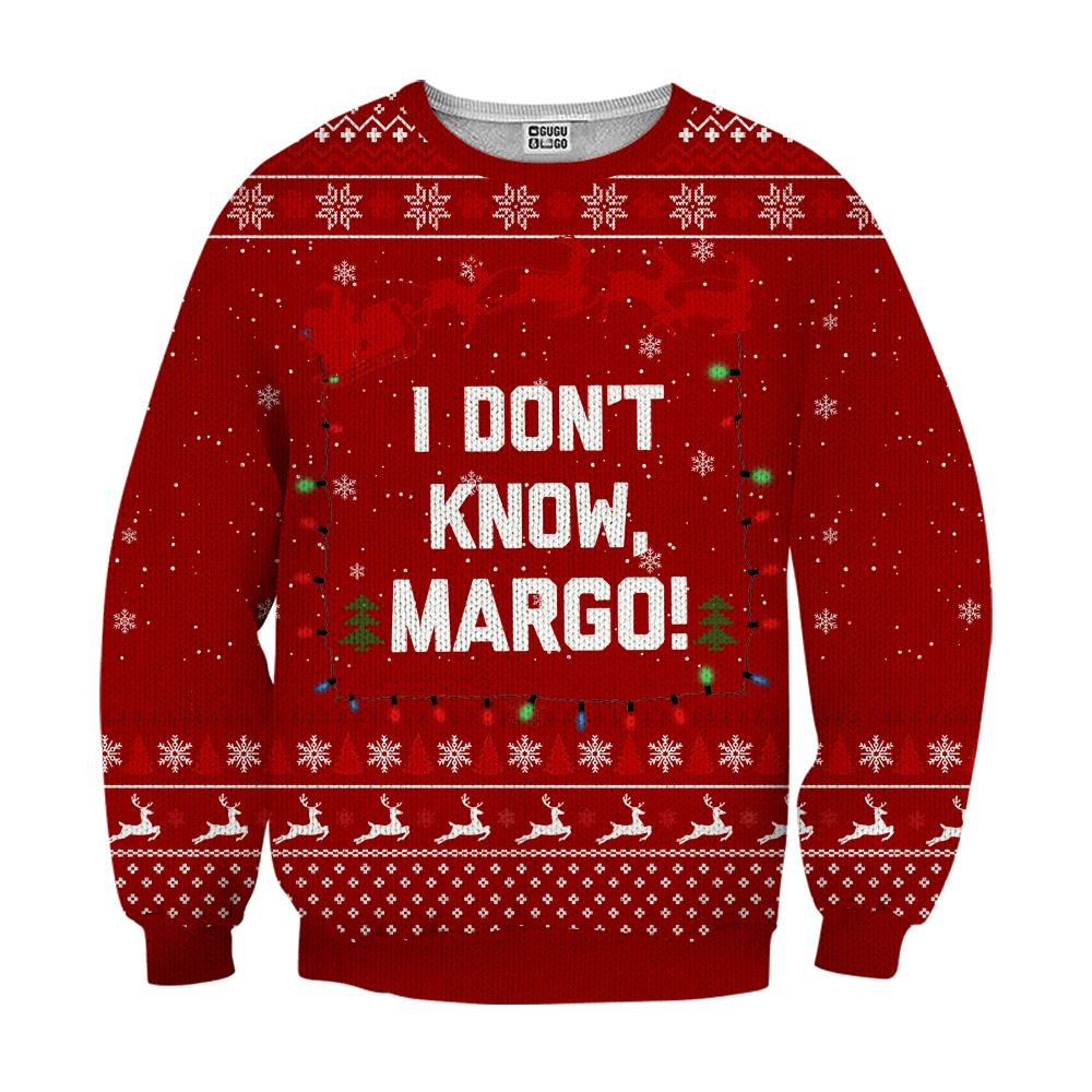 I don't know margo ugly christmas sweater - red