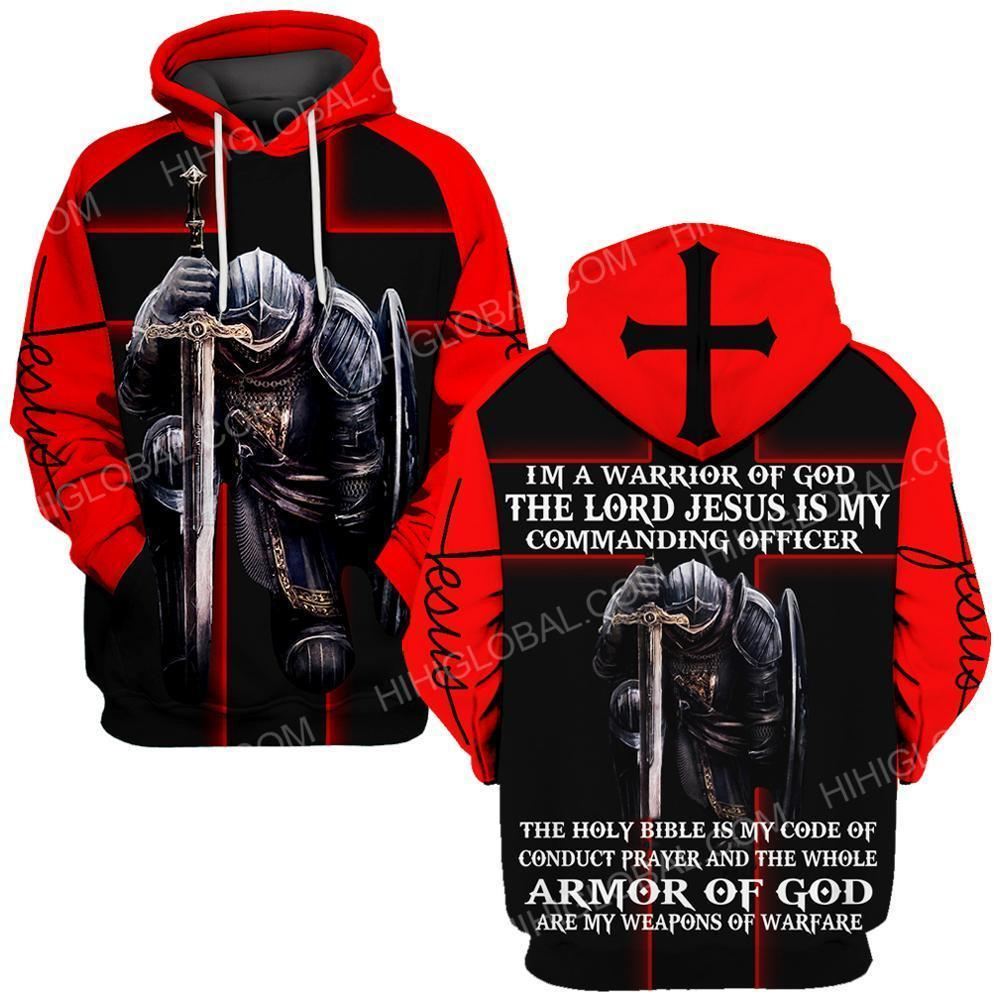 I'm a warrior of God the lord Jesus is my commanding officer all over printed hoodie